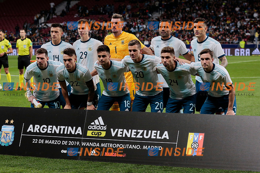 Argentina's team photo during International Adidas Cup match between Argentina and Venezuela at Wanda Metropolitano Stadium in Madrid, Spain. March 22, 2019. (ALTERPHOTOS/A. Perez Meca)<br /> Madrid 22-03-2019 <br /> Football Friendly Match <br /> Argentina Vs Venezuela <br /> foto Alterphotos/Insidefoto <br /> ITALY ONLY