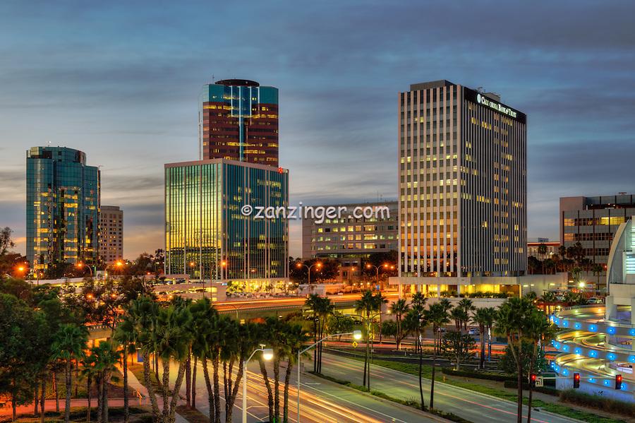 Long Beach; CA; City; Cityscape; Skyline; Sunset; Dusk; Architectural; Office Buildings; Building; California; USA