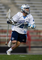 Thomas Wood (2) of North Carolina brings the ball upfield during the ACC men's lacrosse tournament semifinals in College Park, MD.  Maryland defeated North Carolina, 13-5.