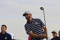 Dustin Johnson Team USA tees off the 9th tee during Friday's Fourball Matches at the 2018 Ryder Cup, Le Golf National, Iles-de-France, France. 28/09/2018.<br /> Picture Eoin Clarke / Golffile.ie<br /> <br /> All photo usage must carry mandatory copyright credit (© Golffile | Eoin Clarke)