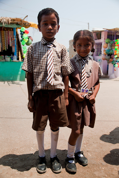 Students at Huligamma temple. Huligi, Bellary district, Karnataka state, India.