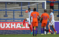 Cameron Humphreys (Manchester City) of England U19 clear on the goalline during the International match between England U19 and Netherlands U19 at New Bucks Head, Telford, England on 1 September 2016. Photo by Andy Rowland.