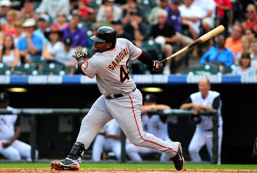 July 26, 2009: Giants 3rd baseman and 2009 National League Most Valuable Player candidate Pablo Sandoval during a regular season game between the San Francisco Giants and the Colorado Rockies at Coors Field in Denver, Colorado. The Rockies beat the Giants 4-2. *****For editorial use only*****