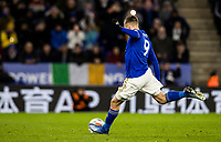Leicester City's Jamie Vardy scoring his side's second goal from the penalty spot <br /> <br /> Photographer Andrew Kearns/CameraSport<br /> <br /> The Premier League - Leicester City v Aston Villa - Monday 9th March 2020 - King Power Stadium - Leicester<br /> <br /> World Copyright © 2020 CameraSport. All rights reserved. 43 Linden Ave. Countesthorpe. Leicester. England. LE8 5PG - Tel: +44 (0) 116 277 4147 - admin@camerasport.com - www.camerasport.com