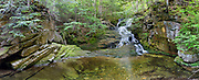 Panoramic of Tama Fall on Snyder Brook in Randolph, New Hampshire during the summer months. This waterfall is located along the Fallsway Trail and is part of the Snyder Brook Scenic Area. This image consists of 8 images stitched together.