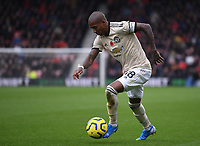 2nd November 2019; Vitality Stadium, Bournemouth, Dorset, England; English Premier League Football, Bournemouth Athletic versus Manchester United; Ashley Young of Manchester United plays the ball forward - Strictly Editorial Use Only. No use with unauthorized audio, video, data, fixture lists, club/league logos or 'live' services. Online in-match use limited to 120 images, no video emulation. No use in betting, games or single club/league/player publications