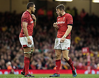 Wales' Taulupe Faletau with team-mate Dan Biggar<br /> <br /> Photographer Simon King/CameraSport<br /> <br /> International Rugby Union - 2017 Under Armour Series Autumn Internationals - Wales v Australia - Saturday 11th November 2017 - Principality Stadium - Cardiff<br /> <br /> World Copyright &copy; 2017 CameraSport. All rights reserved. 43 Linden Ave. Countesthorpe. Leicester. England. LE8 5PG - Tel: +44 (0) 116 277 4147 - admin@camerasport.com - www.camerasport.com