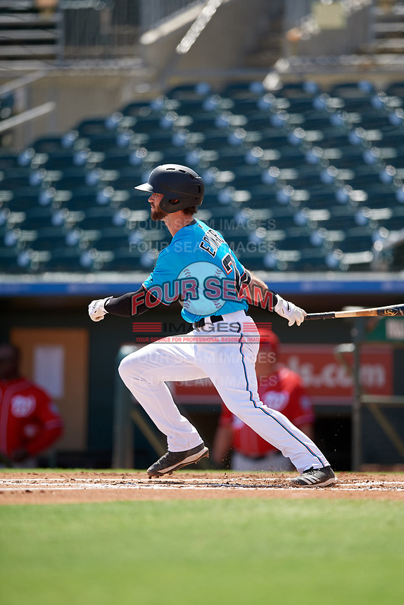 Miami Marlins Evan Edwards (28) at bat during an Instructional League game against the Washington Nationals on September 25, 2019 at Roger Dean Chevrolet Stadium in Jupiter, Florida.  (Mike Janes/Four Seam Images)