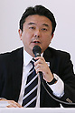 Hidetoshi Maki, AUGUST 5, 2015 : Designer, Kenjiro Sano held a press conference to explain the concepts behind his design for the official emblem for the 2020 Tokyo Olympic and Paralympic Games in Tokyo, Japan. Sano dismissed claims that the design is copied from the logo for the Theatre de Liege in Belgium and explained that he had created it to follow on from the tradition of the 1964 Olympic Games which were also held in Tokyo. (Photo by Sho Tamura/AFLO SPORT)