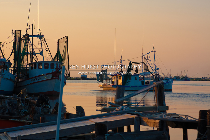 Shrimp boat heading out to the Gulf of Mexico in Cameron, Louisiana.