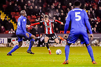 Sheffield United's midfielder David Brooks (36)  takes on Cardiff City's defender Sol Bamba (14) during the Sky Bet Championship match between Sheff United and Cardiff City at Bramall Lane, Sheffield, England on 2 April 2018. Photo by Stephen Buckley / PRiME Media Images.