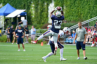 August 2, 2017: New England Patriots safety Patrick Chung (23) makes a catch at the New England Patriots training camp held at Gillette Stadium, in Foxborough, Massachusetts. Eric Canha/CSM