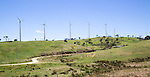 Wind turbines stand on small hill near Nuwara Eliya, Central Province, Sri Lanka, Asia
