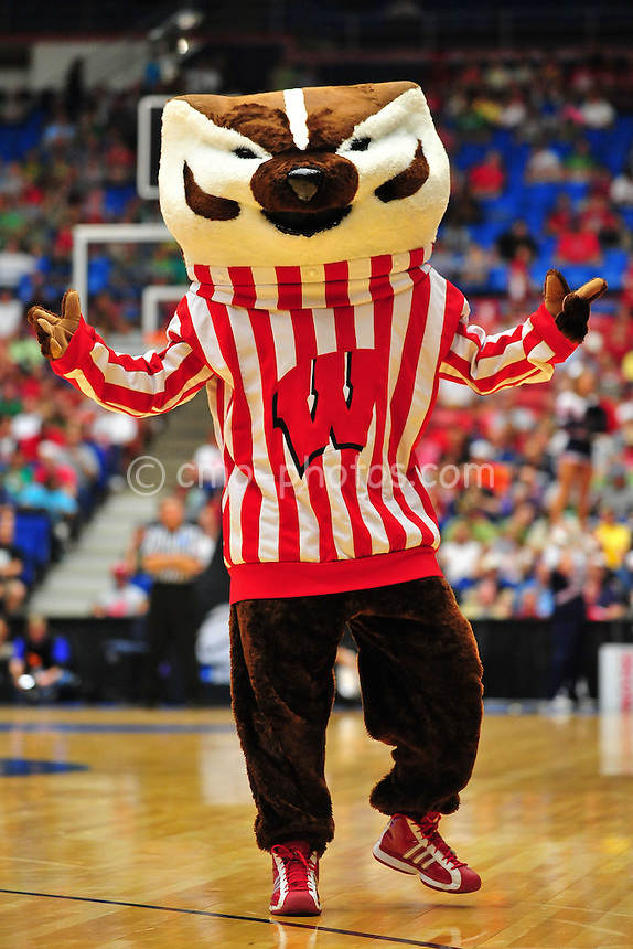 Mar 17, 2011; Tucson, AZ, USA; Bucky, the Wisconsin Badgers mascot in the first half of a game against the Belmont Bruins in the second round of the 2011 NCAA men's basketball tournament at the McKale Center.