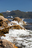 USA, Alaska, Sitka, a cruise ship is anchored in Crescent Bay, Sitka National Historical Park, Sitka Sound