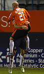 Picture by David Horn/eXtreme Aperture Photography +44 7545 970036<br /> 26/11/2013<br /> Luke Guttridge of Luton Town (21) congratulates Jonathan Smith of Luton Town on scoring his team's 2nd goal to make it 2-0 during the Skrill Premier match at Kenilworth Road, Luton.
