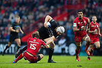 Dave Attwood of Bath Rugby gets past Maxime Medard of Toulouse. Heineken Champions Cup match, between Stade Toulousain and Bath Rugby on January 20, 2019 at the Stade Ernest Wallon in Toulouse, France. Photo by: Patrick Khachfe / Onside Images