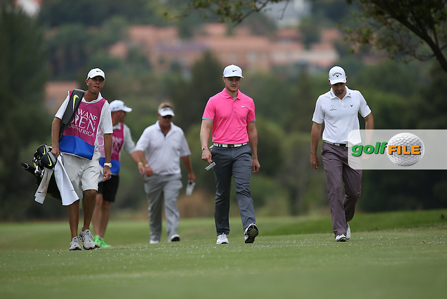 We band of brothers; Oliver Fisher (ENG) Oliver Wilson (ENG) and Titch Moore (RSA) head up the 4th during Round One of the Tshwane Open 2015 at the Pretoria Country Club, Waterkloof, Pretoria, South Africa. Picture:  David Lloyd / www.golffile.ie. 12/03/2015