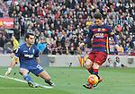 09.01.2016 Camp Nou, Barcelona, Spain. La Liga day 19 march between FC Barcelona and Granada. Leo Messi takes a shot on goal