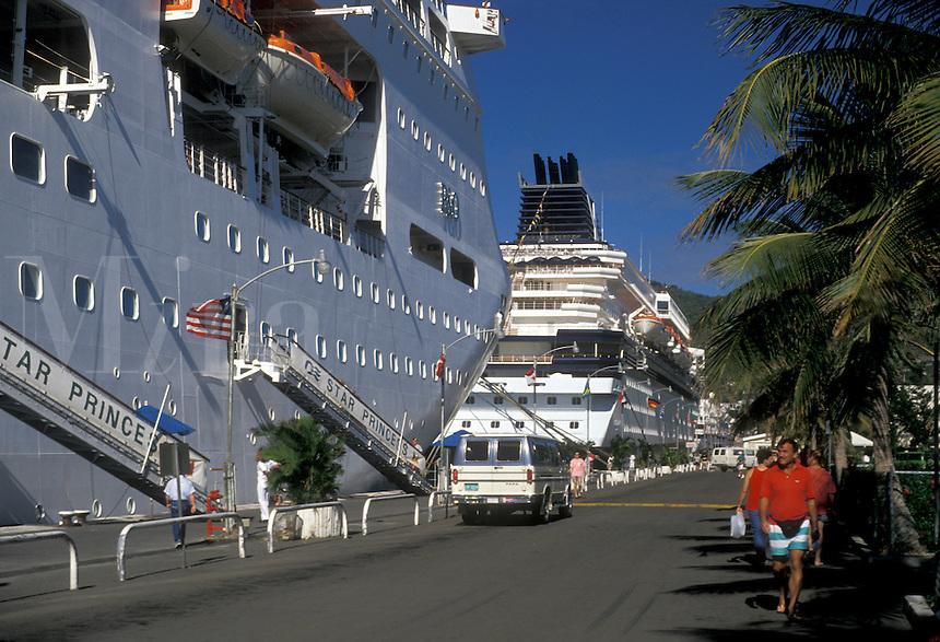 AJ2347, U.S. Virgin Islands, St. Thomas, cruise, Caribbean, U.S.V.I., USVI, Virgin Islands, Cruise ships moored along Long Bat Dock in Charlotte Amalie the territorial capital of the US Virgin Islands on Saint Thomas Island.