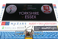 The match details displayed on the giant screen during Yorkshire CCC vs Essex CCC, Specsavers County Championship Division 1 Cricket at Emerald Headingley Cricket Ground on 15th April 2018