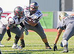 Palos Verdes, CA 09-07-18 - Daniel King (Torrance #72) and Jonathan Gonzalez (Torrance #74) in action during the Torrance - Palos Verdes Peninsula Varsity football game.