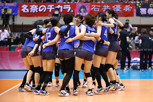 Japan team group (JPN), <br /> JULY 16, 2017 - Volleyball : FIVB Volleyball World Grand Prix SENDAI 2017 match between <br /> Brazil 2-3 Japan  <br /> at Kamei Arena Sendai, in Sendai, Japan. <br /> (Photo by Sho Tamura/AFLO)