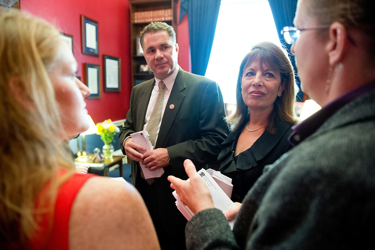 UNITED STATES - JUNE 27: Rep. Bruce Braley, D-Iowa, and Rep. Jackie Speier, D-Calif.,  speak with Protect Our Defenders members as they deliver letters thanking the 125 co-sponsors of Congresswoman's Speier's Sexual Assault Training Oversight and Prevention Act , the STOP Act, on Wednesday, June 27, 2012. (Photo By Bill Clark/CQ Roll Call)
