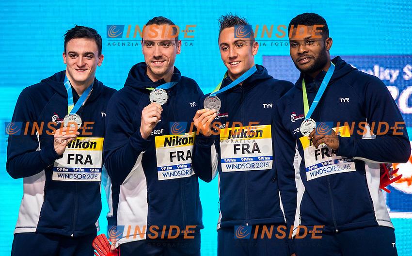 France FRA Silver Medal<br /> Men's 4x100m Freestyle <br /> MIGNON Clement STRAVIUS Jeremy  POTHAIN Jordan METELLA Mehdy <br /> 13th Fina World Swimming Championships 25m <br /> Windsor  Dec. 6th, 2016 - Day01 Finals<br /> WFCU Centre - Windsor Ontario Canada CAN <br /> 20161206 WFCU Centre - Windsor Ontario Canada CAN <br /> Photo &copy; Giorgio Scala/Deepbluemedia/Insidefoto