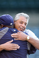 Former California Angel John Candalaria hugs former teammate Tampa Bay Rays coach George Hendrick before game at Angel Stadium on June 18, 2011 in Anaheim,California. (Larry Goren/Four Seam Images)