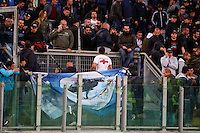Napoli's fans remove the flags , prior to the Italy Cup final soccer match between ACF Fiorentina and SSC Napoli at the Olimpico stadium in Rome, Italy, 03 May 2014