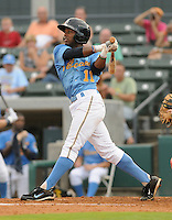 Infielder Mycal Jones (11) of the Myrtle Beach Pelicans in a game against the Potomac Nationals on Aug. 7, 2010, at BB&T Coastal Field in Myrtle Beach, S.C. Photo by: Tom Priddy/Four Seam Images