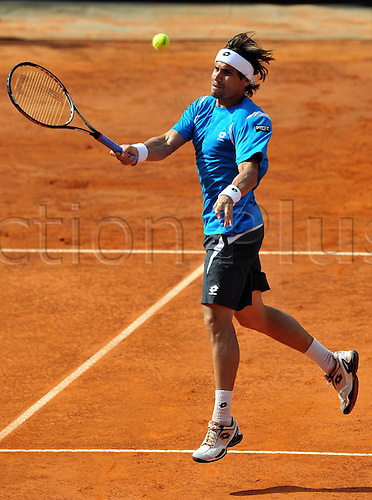 19.05.2012. Rome, Italy.  David Ferrer of Spain Returns The Ball during The Semi-finals Match of Men s