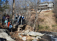 NWA Democrat-Gazette/CHARLIE KAIJO Visitors enjoy the view of a waterfall, Saturday, January 5, 2019 at Tanyard Creek Nature Trail in Bella Vista.