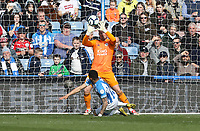 Leicester City's Kasper Schmeichel saves this close range effort from Huddersfield Town's Karlan Grant <br /> <br /> Photographer Stephen White/CameraSport<br /> <br /> The Premier League - Huddersfield Town v Leicester City - Saturday 6th April 2019 - John Smith's Stadium - Huddersfield<br /> <br /> World Copyright © 2019 CameraSport. All rights reserved. 43 Linden Ave. Countesthorpe. Leicester. England. LE8 5PG - Tel: +44 (0) 116 277 4147 - admin@camerasport.com - www.camerasport.com