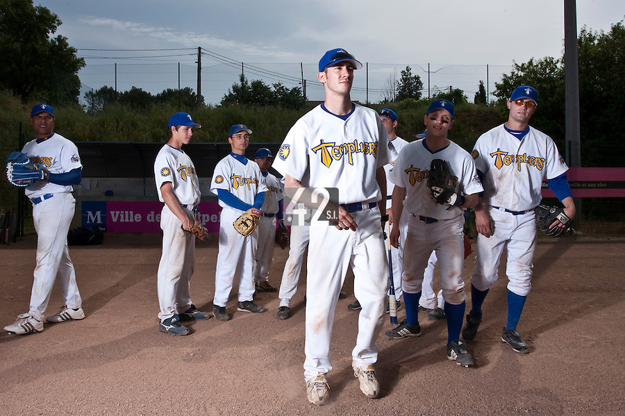 23 May 2009: Team Senart is seen prior to a game against Savigny during the 2009 challenge de France, a tournament with the best French baseball teams - all eight elite league clubs - to determine a spot in the European Cup next year, at Montpellier, France. Savigny wins 4-1 over Senart.