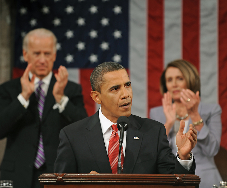 US President Barack Obama delivers his first State of the Union speech to a joint session of the U.S. Congress January 27, 2010 in Washington.     AFP Photo /Tim Sloan/POOL