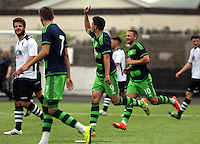 Pictured: Owain Jones of Swansea is celebrating his equaliser, making the score 1-1 Saturday 11 July 2015<br />