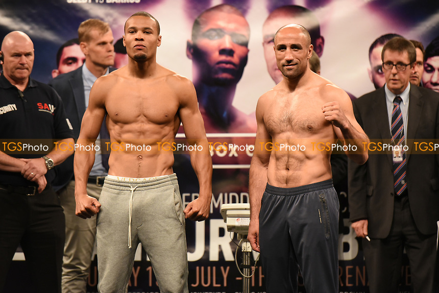 Chris Eubank Jr (L) and Arthur Abraham during a Weigh-In at the SSE Arena on 14th July 2017