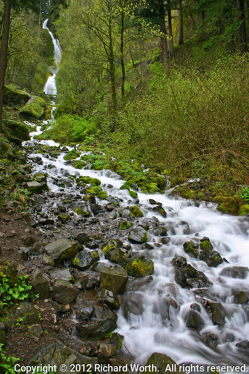 In late March 2005 spring runoff filled streams and turned waterfalls into spectacles along the Historic Columbia River Highway east of Portland, Oregon.