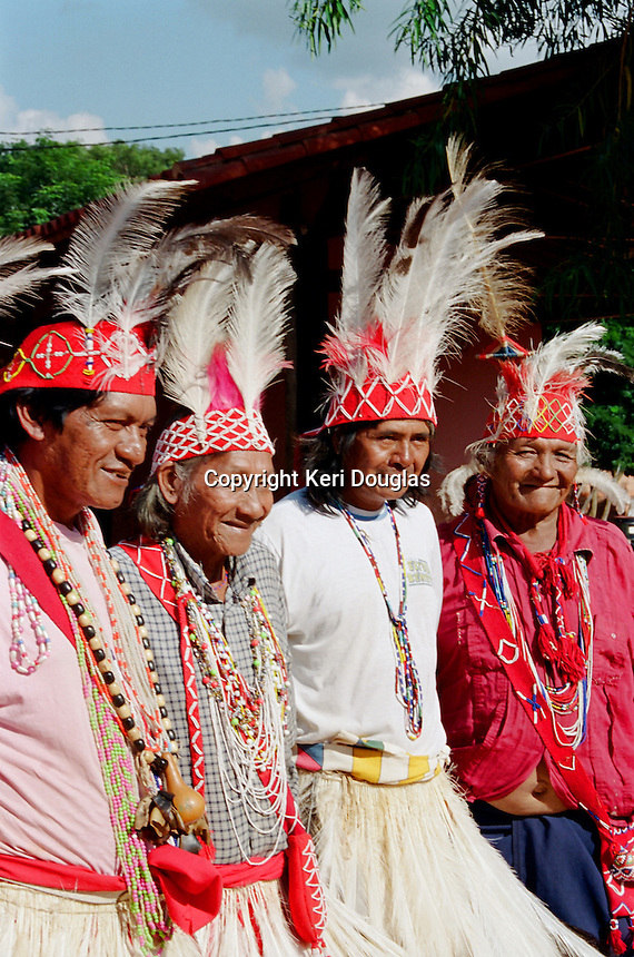 Maka Indian elders. Maka Indigenous communities impacted by timber industry in the north. Asuncion area, Paraguay.