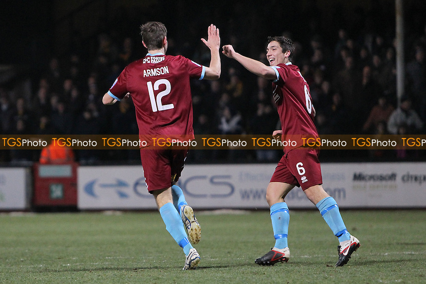 James Armson of Nuneaton Town (12) scores the first goal for his team and celebrates - Cambridge United vs Nuneaton Town - Blue Square Conference Premier Football at the R Costings Abbey Stadium - 15/01/13 - MANDATORY CREDIT: Gavin Ellis/TGSPHOTO - Self billing applies where appropriate - 0845 094 6026 - contact@tgsphoto.co.uk - NO UNPAID USE.
