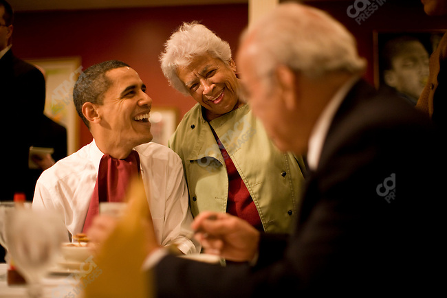Senator Barack Obama, Democratic presidential candidate, campaigns in New Orleans, Louisiana, stopping at Dookie Chase restaurant where he is hosted by Leah Chase the owner, and sits down for a bowl of gumbo. New Orleans, Louisiana, February 7, 2008.