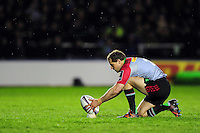 Nick Evans of Harlequins lines the ball up for a kick at the posts. European Rugby Challenge Cup semi final, between Harlequins and Grenoble on April 22, 2016 at the Twickenham Stoop in London, England. Photo by: Patrick Khachfe / JMP