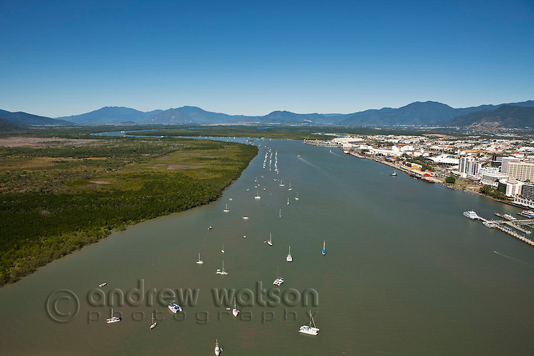Aerial view of Trinity Inlet and central business district.  Cairns, Queensland, Australia