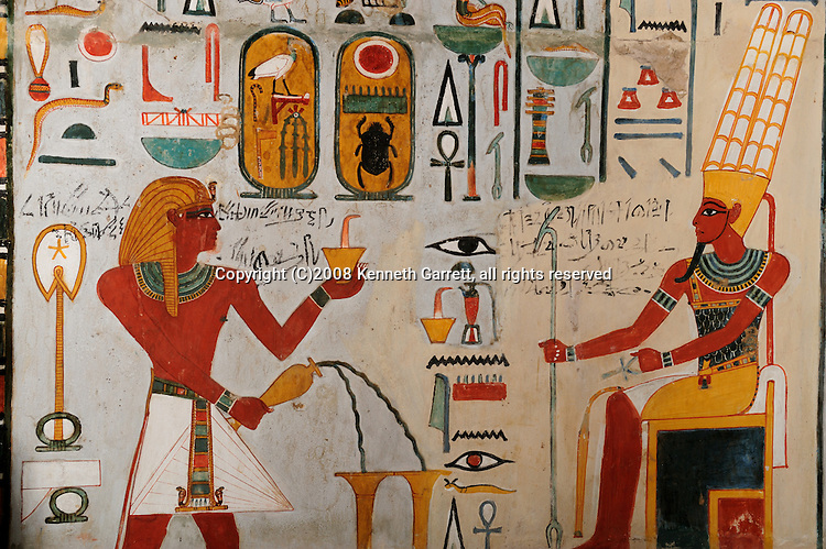 Hatshepsut; Egypt; Egyptian Museum; Cairo, Shrine dedicated to Hathor by Thutmosis III, Thutmosis III pouring libations and burns incense before Amun-Ra,  18th dynasty; New Kingdom; Luxor