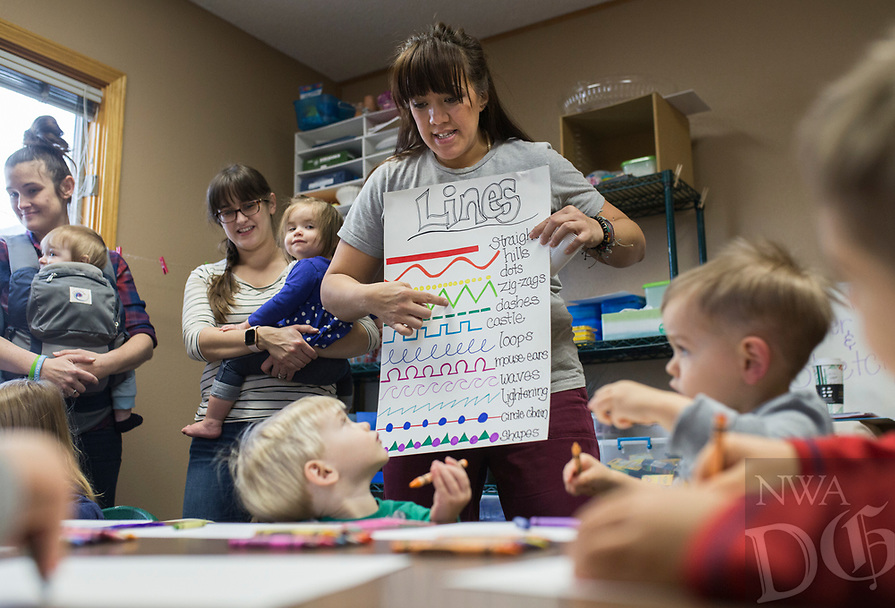 NWA Democrat-Gazette/CHARLIE KAIJO Instructor Cecillia Clardy shows kids ways to create art during a Splatter & Stretch class NWA, Thursday, January 10, 2019 at Jubilee Music in Rogers. <br /><br />The class explores movement through yoga that's age appropriate for 2-5 year olds followed by process art - art with no predetermined destination. The class provides the kids with the tools. And the kids determine where to end. The lack of destination allows them to explore their creations on their own terms and have complete control. It's easy to overlook that children experience stress and anxiety. Even children have a hard time with just stopping and breathing, which is why they start and end the classes with yoga. Thursday's class was a free demo. The start of the nine week semester begins next week.