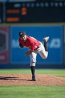 Vancouver Canadians starting pitcher Elio Silva (43) follows through on his delivery during a Northwest League game against the Spokane Indians at Avista Stadium on September 2, 2018 in Spokane, Washington. The Spokane Indians defeated the Vancouver Canadians by a score of 3-1. (Zachary Lucy/Four Seam Images)