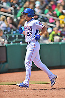 Tennessee Smokies third baseman Jason Vosler (22) after hitting a home run during a game against the Jackson Generals at Smokies Stadium on April 11, 2018 in Kodak, Tennessee. The Generals defeated the Smokies 6-4. (Tony Farlow/Four Seam Images)