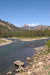 WY: Wyoming, Cody: Enroute to Yellowstone..Cody Peak along scenic North Fork of Shoshone River..Photo #: yellow800..Photo copyright Lee Foster, 510/549-2202, lee@fostertravel.com, www.fostertravel.com..